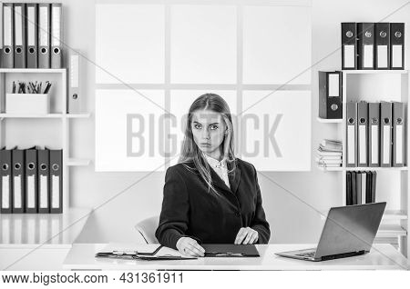 Smart Office Worker. Woman Formal Style In Office. Confident Worker. Woman Working On Laptop. Making