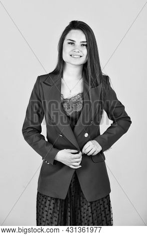 Elegant Smiling Woman In Jacket. Trendy Office Worker. Formal Casual Fashion Style. Beautiful Woman