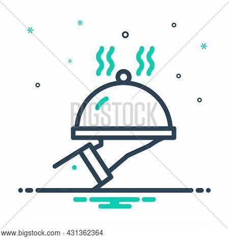 Mix Icon For Serve Attend Dish Waiter Catering Cooking Restaurant Service