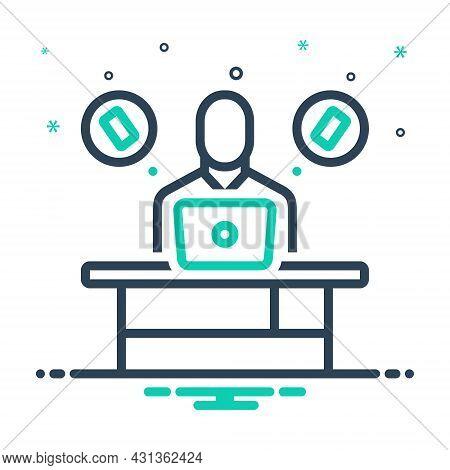Mix Icon For Insist Work Desk Laptop Assert Contend Demand Maintain Phone Call Communication
