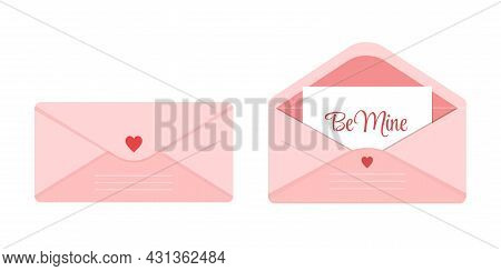 Set Of Open And Closed Pink Envelope Decorated With Heart. Cute Love Letter With Romantic Note Copy