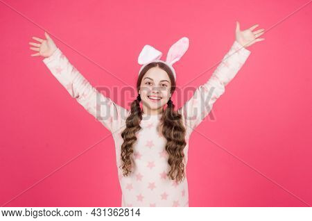 Happy Easter Child Girl In Bunny Rabbit Ears And Pajamas, Easter Holiday