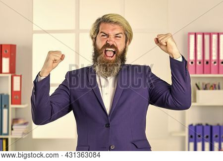 Yes I Can. Lucky Man. Entrepreneur In Modern Office. Successful Bearded Ceo. Business Success. Makin