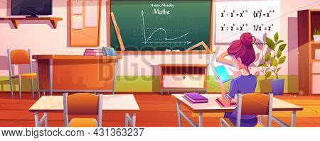 School Girl With Mobile Phone In Classroom. Vector Cartoon Illustration Of Mathematics Class Interio