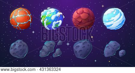 Earth, Alien Planets And Asteroids In Outer Space With Stars. Vector Cartoon Set Of Stone Meteorites
