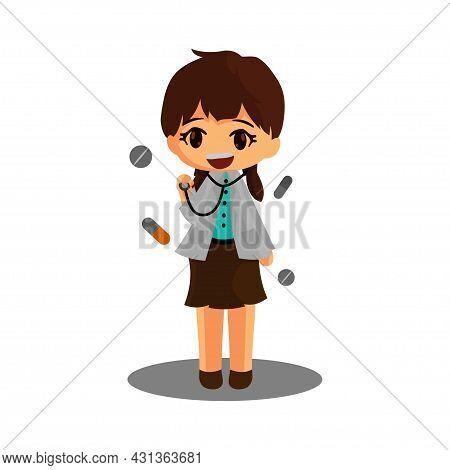 Doctor Character Standing Hold Stethoscope Corona Virus 2019 Medicine Worker