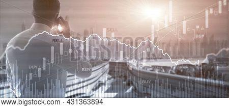 Trading Investment Economics Concept. Trade Concept. Stock Market Background