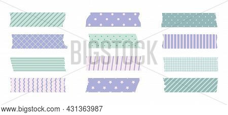 Washi Masking Tape Set. Cute Scotch Paper Sticker For Scrapbook. Tape Set Of Japanese Style With Rib