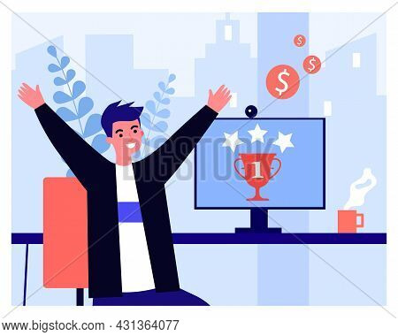 Happy Man Getting First Place In Online Competition. Male Character Sitting At Computer Desk Flat Ve