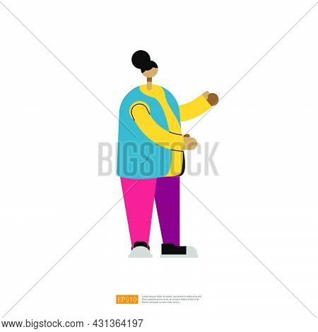 Woman Or Girl Character Standup With Explain Gesture For Business Or Education Illustration