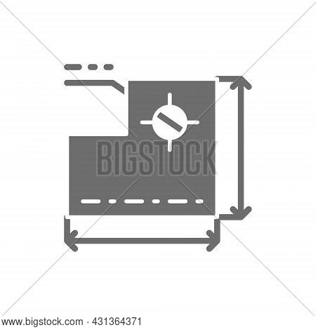 Drawing Of Technical Device, Development Of A Industrial Machine Grey Icon.
