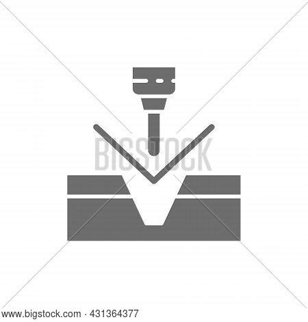 Metal Bending, Hydraulic Cnc Press Machine Grey Icon.