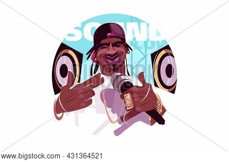 Afroamerican Rap Singer Vector Illustration. Man With Baseball Cap Flat Style. Guy With Microphone W