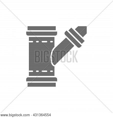 Pipe Connector, Water Tube Grey Icon. Isolated On White Background