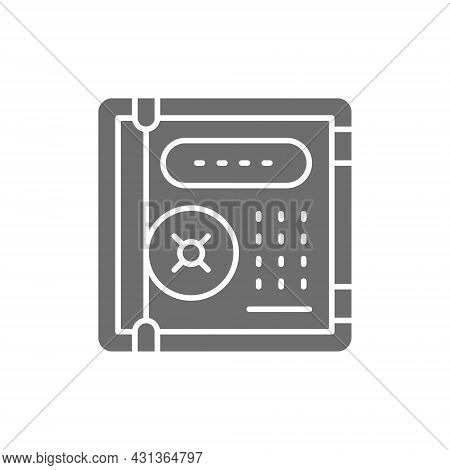 Electronic Safe, Personal Protection, Cryptography Grey Icon.