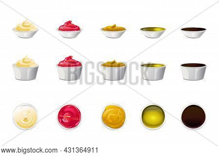 Big Sauce In Bowls Set. Soy, Olive Oil, Mustard, Ketchup And Mayonnaise Sauces. Condiment Elements F