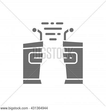Political Debates, Tribune, Vs Grey Icon. Isolated On White Background