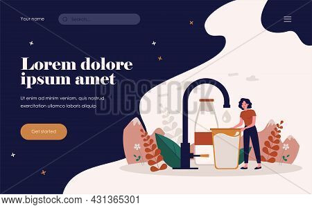 Tiny Woman Taking Pure Clean Water Flat Vector Illustration. Cartoon Female Character Standing With