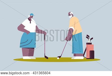 Senior Woman Man Couple Playing Golf Aged African American Family Players Taking A Shot Active Old A