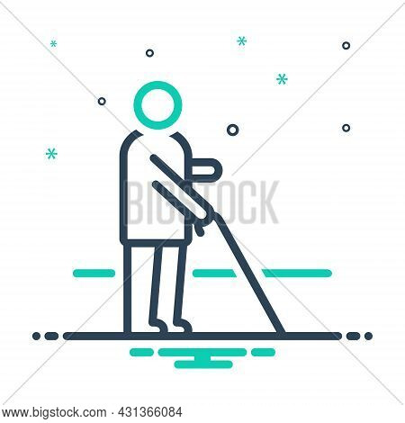 Mix Icon For Blind Disable People Dark Helpless Alone Stick Sightless Viewless Eyeless