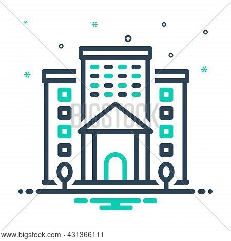 Mix Icon For Institution Academy Foundation Building Architecture Organization Institute Company Soc