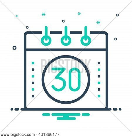 Mix Icon For Thirty Calender Page Date Day Agenda App Appointment Event Number