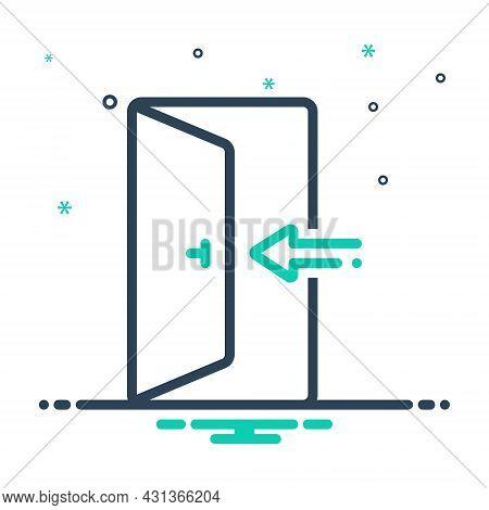Mix Icon For Enter Knob Door Open Door-way Entering Entrance Arrow Go-in Come-in