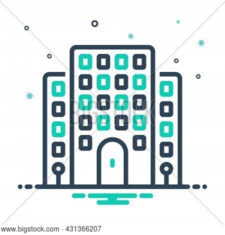 Mix Icon For Flat House Premises Dwelling Apartment Residence Home Building Architecture Mortgage