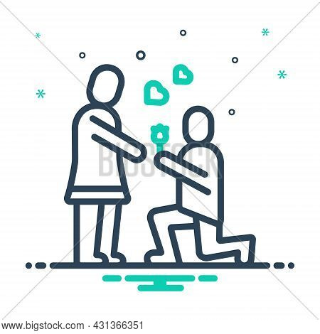 Mix Icon For Propose Valentines-day Couple Put-forward Kneel Love Lover Celebration Dating Affection
