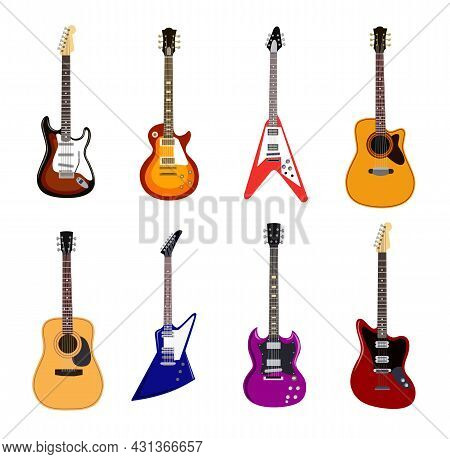 Acoustic And Electric Guitars Flat Vector Illustrations Set. Collection Of Musical Instrument With S