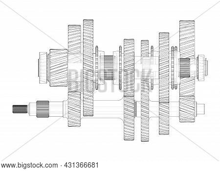 Gearbox Sketch. Vector Rendering Of 3d. Wire-frame Style. The Layers Of Visible And Invisible Lines