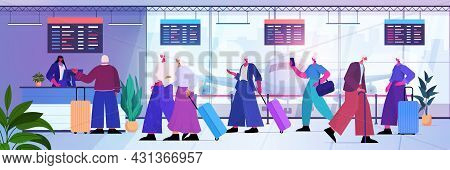 Senior People With Luggage Standing In Queue To Check In Airport Counter Traveling Active Old Age Co