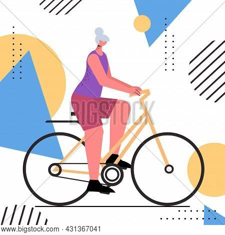 Senior Woman Cycling Aged Sportswoman Riding Bicycle Workout Healthy Lifestyle Active Old Age Concep