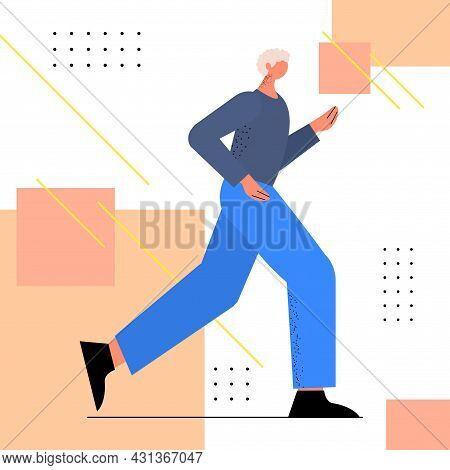 Senior Man In Sportswear Running Grandfather Pensioner Doing Physical Exercises Active Old Age Healt