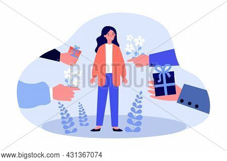 Hands Of Men Holding Gift Boxes And Flowers For Popular Woman. Female Character Choosing Between Adm