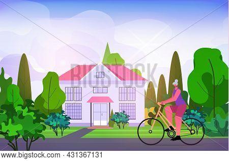 Senior Woman Cycling Outdoor Aged Sportswoman Riding Bicycle Workout Healthy Lifestyle Active Old Ag