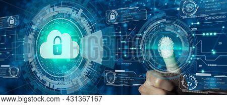 Businessman Use Finger Scan On Cloud With Padlock Icon On Network Connection. Digital Technology Bac