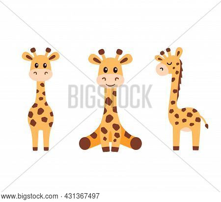Vector Illustration Of Little Funny Cute Giraffe In Flat Style Isolated On White Background. Baby Gi