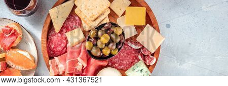 Charcuterie And Cheese Board Panorama With Red Wine And Olives, Shot From The Top With Copy Space. S
