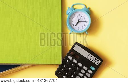 The Calculator Displays The Text Of The Claim On A Yellow Background. Business Concept.