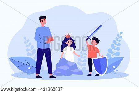 Father Or Teacher And Children Rehearsing For School Play. Boy With Sword And Shield, Girl Wearing C