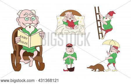Set Of Funny Cute Mythological Gnomes Routine