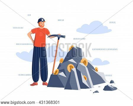 Positive Man With A Pickaxe In A Miner's Helmet Near The Mountain With Crypto Coins. Mining Crypto C