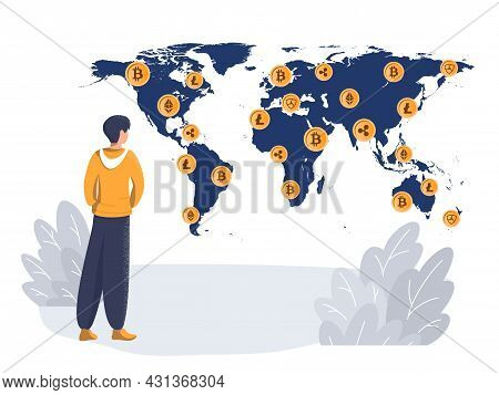 A Man On The Background Of A World Map With Crypto Coins. Crypto Currency Mining Concept, Currency R