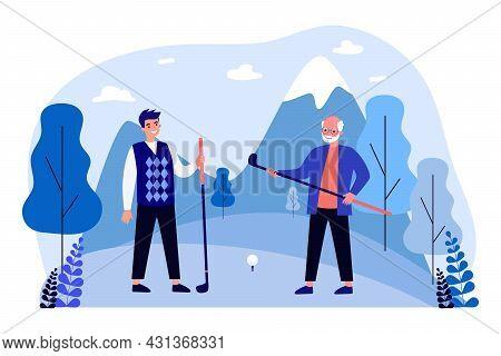 Young And Old Men Playing Golf. Flat Vector Illustration. Grandfather And Son Or Grandson Holding Go