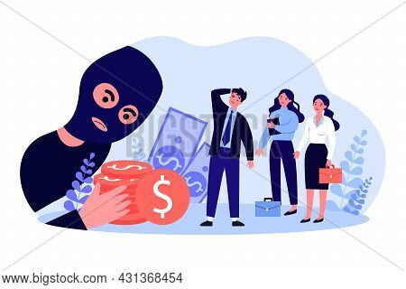 Cartoon Business Team Facing Fraud. Flat Vector Illustration. Tiny Business People In Disbelief From