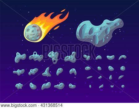 Set Of Colorful Asteroids Of Different Shapes, Textures And Size. Cartoon Vector Illustration. Meteo