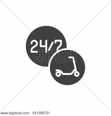 24-hour Scooter Sharing Service Vector Icon. Filled Flat Sign For Mobile Concept And Web Design. Ele