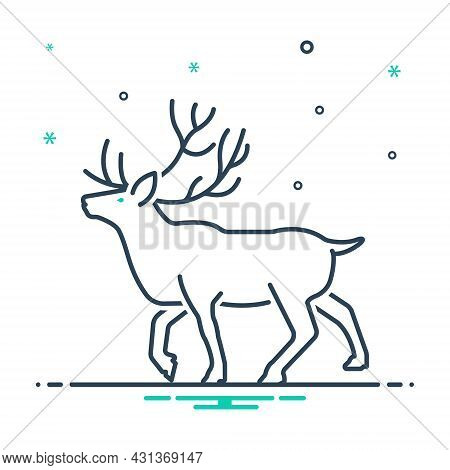 Mix Icon For Reindeer Stag Horned Antler Herbivores Nature Animal Jungle Wildlife Zoo