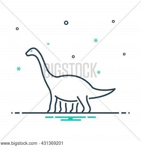 Mix Icon For Dinosaur Herbivore Dangerous Jurassic Monster Lizard Nature Animal Jungle Wildlife Zoo